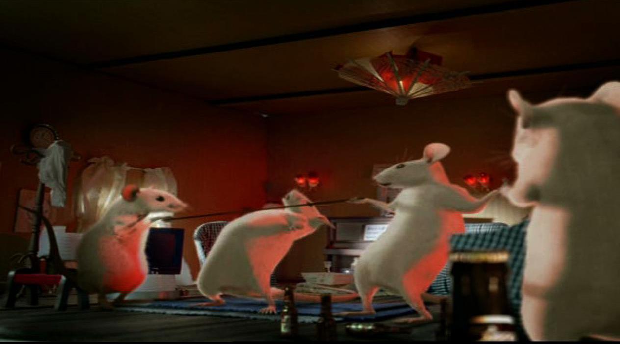 décor maquette du salon miniature de souris qui dansent pour film publicitaire budweiser
