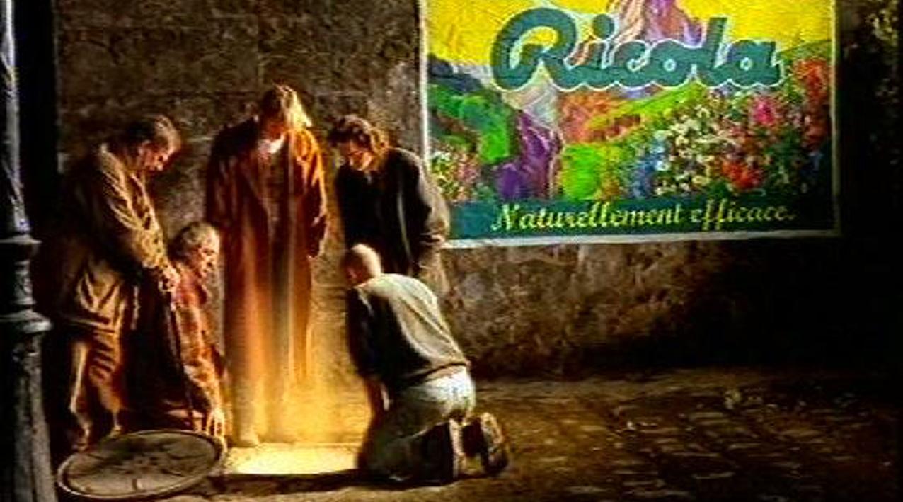 fausse affiche peinte pour le décor du film publicitaire ricola