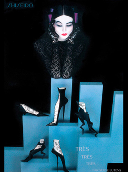 sculptures de chaussures imaginaires, photo serge lutens pour shiseido