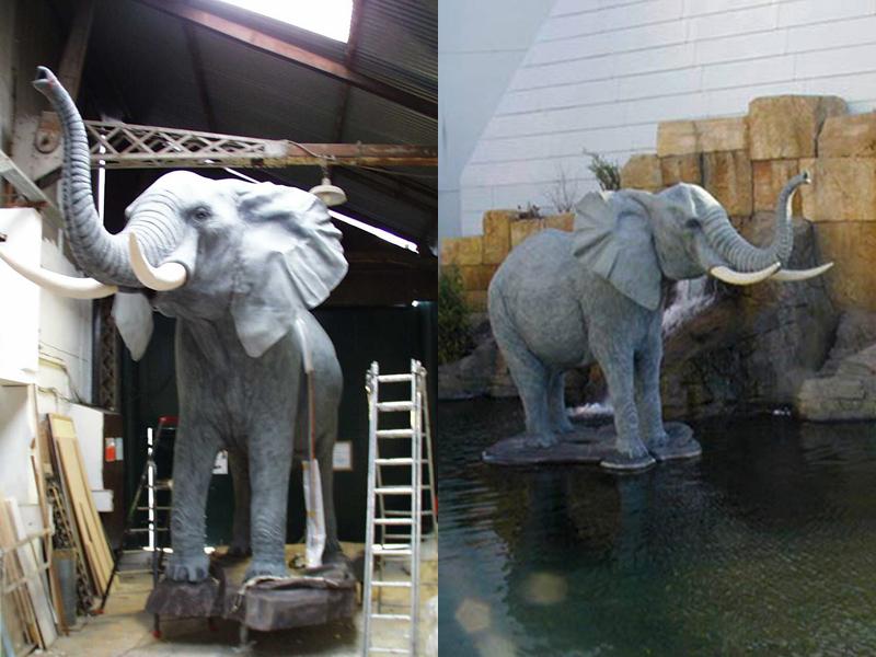 faux éléphants en polystyrene, à l'atelier puis installés sur l'eau à Disneyland